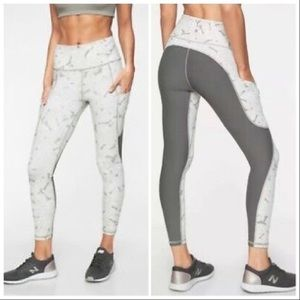 ATHLETA gray palm ALL IN running 7/8 tights, S.